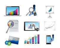 Business reporting concept icon set illustration. Design over white Royalty Free Stock Images