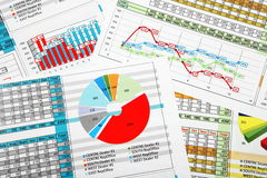Business Reports in Multicolor Charts Royalty Free Stock Photography