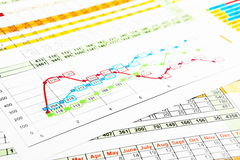 Business Reports in Multicolor Graph Royalty Free Stock Image