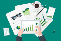 Business reports on paper sheet, modern electronic and mobile devices.  Stock Photography