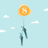Business Rescue Concept. Vector illustration of a businessman holding balloons of financial safety rescuing other businessman from his demise Stock Images