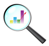 Business research. Magnifying glass zoom on business chart Royalty Free Stock Photos