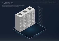 3d icon. Big data science vector illustration. Isometric computer technology data analysis. Data center. Business research. Abstract big data illustration Stock Photos