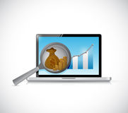 Business research on a computer. illustration Stock Photography