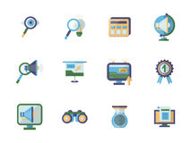Business research flat color icons set Stock Images