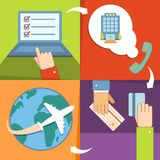 Business reservation and booking icons set Royalty Free Stock Image