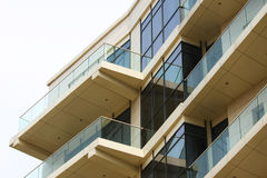 Business and residential glass building. With large terraces stock photos