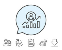 Business results line icon. Career Growth chart. Stock Photo