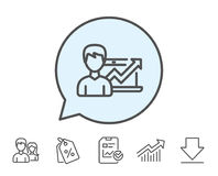 Business results line icon. Growth chart. Stock Images