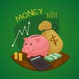 Business Retro Cartoon Concept Set Stock Images