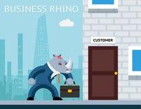 Business rhino. Angry businessman Stock Photos