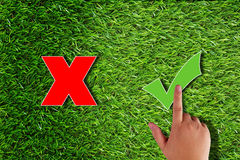 Business Right Decision Concept. Business right decision or answer concept, hand touch green checkmark on grass background Stock Photo