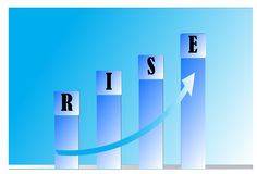 Business. Rise in business shown as a bar chart Royalty Free Stock Photography