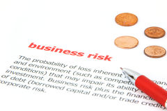 Business Risk. Meaning od business risk witth prn on paper Stock Photo