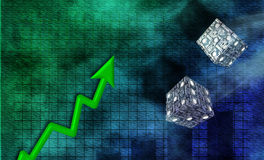 Business Risk. Chart, upward arrow and dice made of USA banknotes Royalty Free Stock Photography