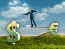 Business risk. Businessman walking on a rope connecting some currencies symbols. Diigtal illustration Royalty Free Stock Images