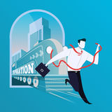 Business risk concept vector illustration in flat design. Vector illustration of businessman with red ribbon running away from train with Corporation lettering Royalty Free Stock Photos