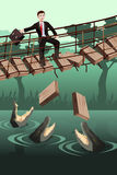 Business risk concept. A vector illustration of business risk concept where a businessman walking on a broken bridge with dangerous crocodiles underneath Royalty Free Stock Photos