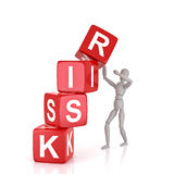 Business Risk. Falling Cubes. 3D Rendering Stock Images
