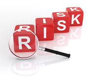 Business Risk. With Magnifying Glass. 3D Rendering Royalty Free Stock Photography