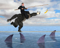 Business Risk Management, Sales, Marketing. Concept for business risk management, setting goals, sales, or marketing. A businessman is riding on the shoulders of Stock Image