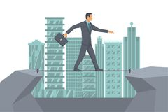 Business risk rope vector. Business risk rope. Businessman walking on tightrope on background big modern city. Way to success. Vector flat design. Success in Royalty Free Stock Image