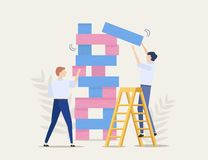 Business risks, brave step, vector concept. Business competition. Two businessmen are playing the tower game. Business competition. Two businessmen men are royalty free illustration