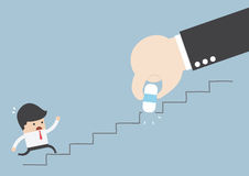 Business rival concept, Businessman hand holding eraser deleting. The stair, VECTOR, EPS10 Stock Photo
