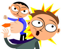 Business rivals. A cartoon illustration of a business man punching a man Royalty Free Stock Photo