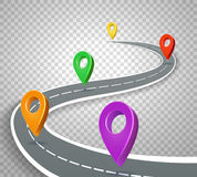 Business roadmap 3d pointers on transparent background. Abstract road with pins vector illustration. Business map with navigation color marker Stock Photo