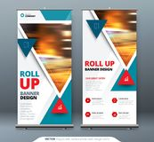 Business Roll Up Banner stand. Presentation concept. Abstract modern roll up background. Vertical roll up template. Billboard, banner stand or flag design Stock Images
