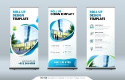 Business Roll Up Banner stand. Presentation concept. Abstract modern roll up background. Vertical roll up template. Billboard, banner stand or flag design stock illustration