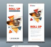 Business Roll Up Banner stand. Presentation concept. Abstract modern roll up background. Vertical roll up template. Billboard, banner stand or flag design Royalty Free Stock Image