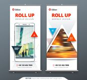Business Roll Up Banner stand. Presentation concept. Abstract modern roll up background. Vertical roll up template. Billboard, banner stand or flag design Royalty Free Stock Photo