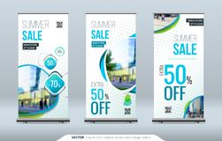 Business Roll Up Banner stand. Presentation concept. Abstract modern roll up background. Vertical roll up template. Billboard, banner stand or flag design royalty free illustration