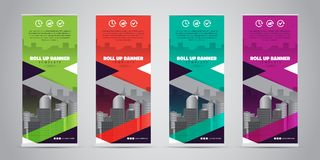 Business Roll Up Banner. Standee Design. Banner Template. 4 Various Color Set - Vector illustration Royalty Free Stock Image