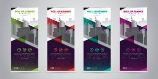 Business Roll Up Banner. Standee Design. Banner Template. 4 Various Color Set - Vector illustration Stock Photos
