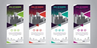 Business Roll Up Banner. Standee Design. Banner Template. 4 Various Color Set - Vector illustration Royalty Free Stock Photography