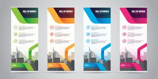 Business Roll Up Banner Standee Design with 4 Various Color Template. Vector Illustration. Stock Photos
