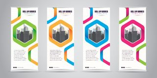 Business Roll Up Banner Standee Design with 4 Various Color Template. Vector Illustration. Stock Images
