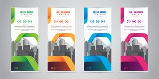 Business Roll Up Banner Standee Design with 4 Various Color Template. Vector Illustration. Royalty Free Stock Photos