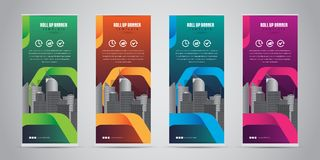 Business Roll Up Banner Standee Design with 4 Various Color Template. Vector Illustration. Stock Photo