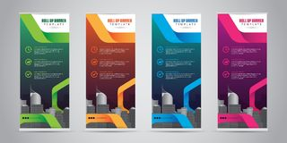 Business Roll Up Banner Standee Design with 4 Various Color Template. Vector Illustration. Royalty Free Stock Photo