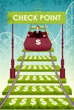 Business Roller Coaster. Easy to edit vector illustration of businessman on money roller coaster Stock Photos