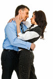 Business romance. Young love couple embraces on white background Royalty Free Stock Images