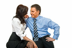 Business romance. Young embracing sympathetic business couple on white Royalty Free Stock Photography
