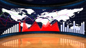 Business Room, Charts and Graphs, Computer Graphic Background Stock Image