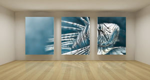 Business room, 3d art with empty space, three green chroma key f Royalty Free Stock Photography