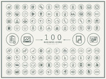 100 business round icons set. Over beige background stock illustration