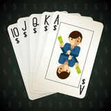 Business royal flush playing cards. Street and combination and poker. Vector illustration Stock Photos